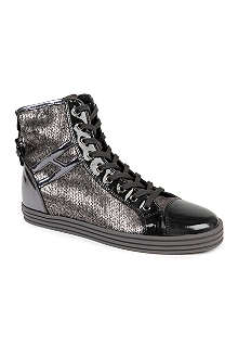 HOGAN REBEL Sequinned high-top trainers