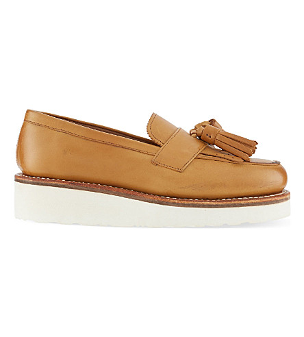 GRENSON Clara leather loafers (Tan