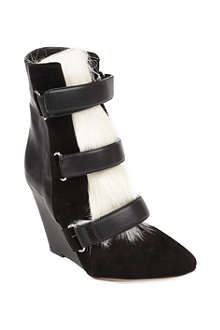 ISABEL MARANT Pierce calf hair and leather ankle boots