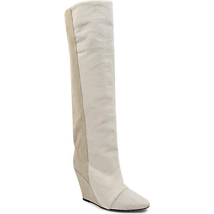 ISABEL MARANT Shelia suede and calf hair knee-high boots (Beige