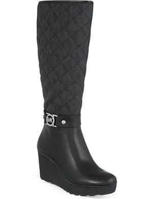 MICHAEL MICHAEL KORS Aaran quilted platform wedge knee-high boots