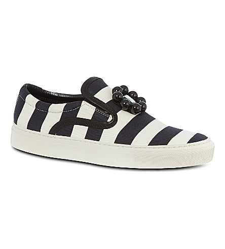 MOTHER OF PEARL Achilles striped plimsoles (Blk/white