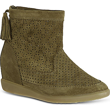 ISABEL MARANT Beslay perforated suede boots (Brown