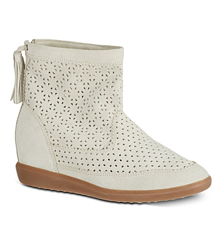 ISABEL MARANT Beslay perforated suede boots (Beige