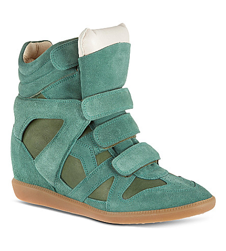 ISABEL MARANT Burt suede high tops (Green