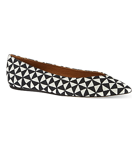ISABEL MARANT Plumy pointed ballet flats (Blk/white