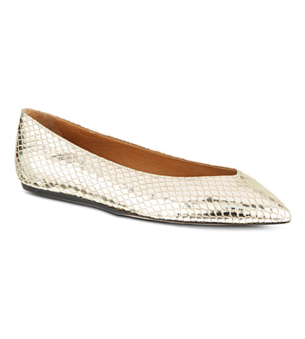 ISABEL MARANT Plumy pointed ballet flats (Gold