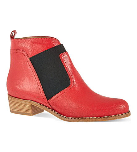 MARC BY MARC JACOBS Cracked leather ankle boots (Red