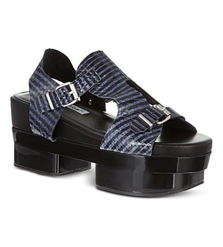 ACNE STUDIOS Aimi snake-look sandals (Black