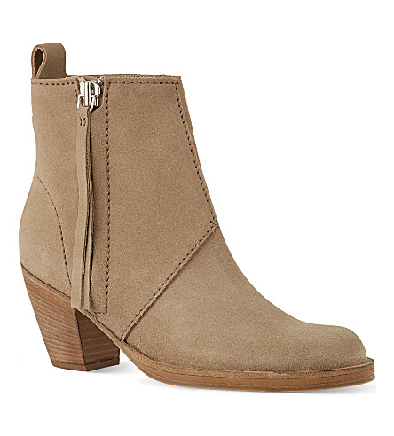 ACNE STUDIOS Pistol suede ankle boots (Taupe