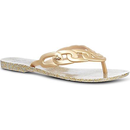 MELISSA + VIVIENNE WESTWOOD Harmonic links rubber flip flops (Gold