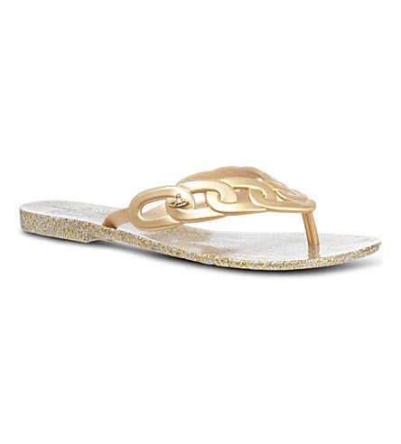 CARVELA Harmonic links rubber flip flops (Gold