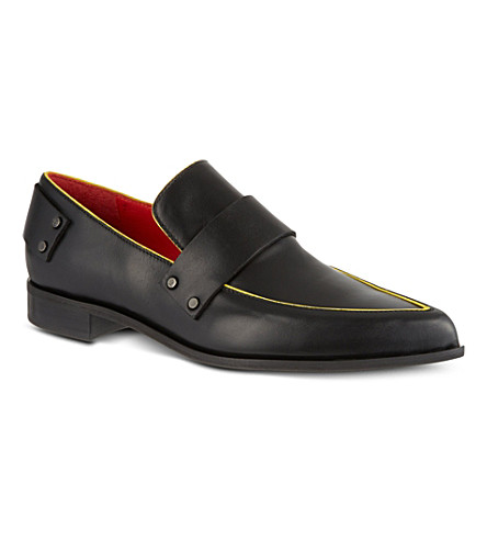 MCQ Grace leather slippers (Black