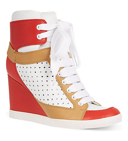 SEE BY CHLOE Peter perforated leather trainers (Red