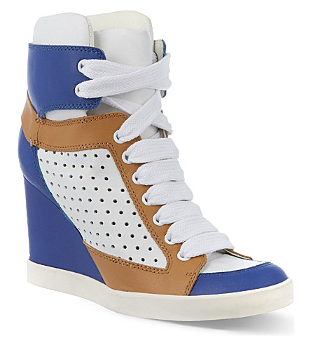 SEE BY CHLOE Peter perforated leather trainers (Blue