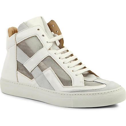 MM6 Leather high-top trainers (White