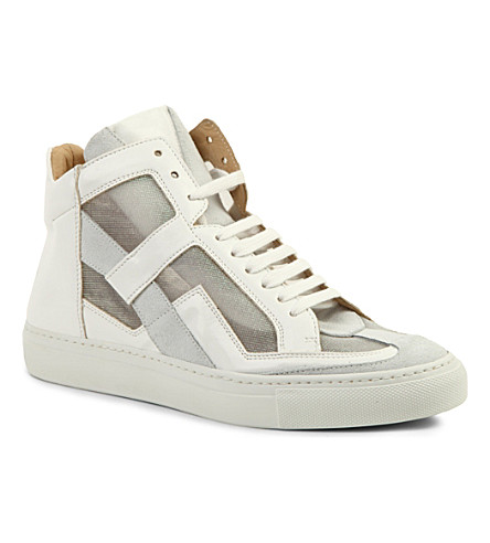 EVISU Leather high-top trainers (White