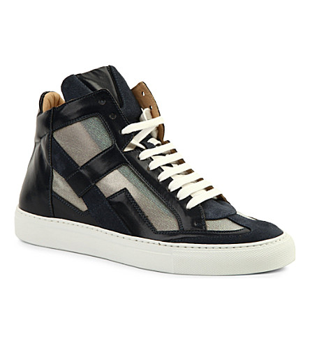 EVISU Leather high-top trainers (Navy
