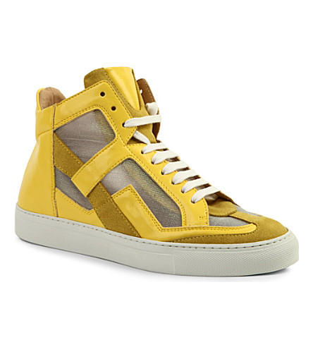 MM6 Leather high-top trainers (Yellow