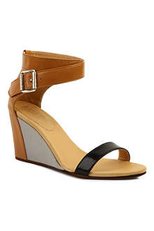 MM6 80 leather wedge sandals