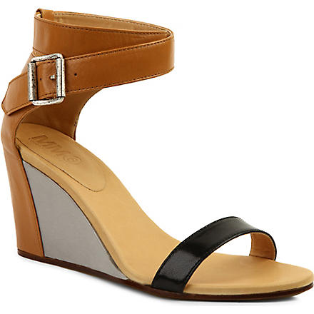 MM6 80 leather wedge sandals (Blk/other