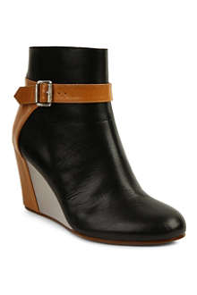MM6 Leather wedge ankle boots