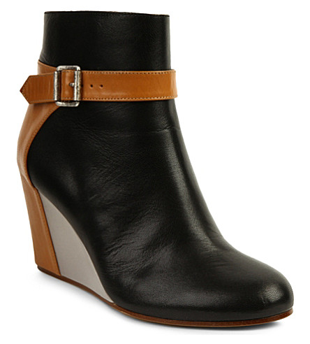 MM6 Leather wedge ankle boots (Blk/other