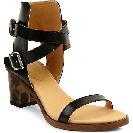 MM6 Leather block-heel sandals (Black