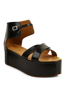 MM6 Leather flatform sandals