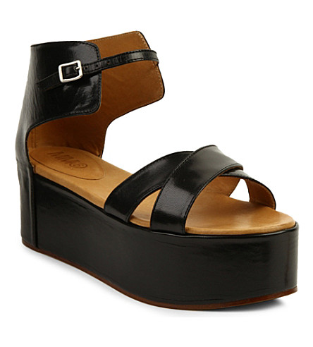 MM6 Leather flatform sandals (Black