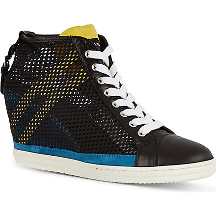 HOGAN REBEL Mesh wedge trainers (Black