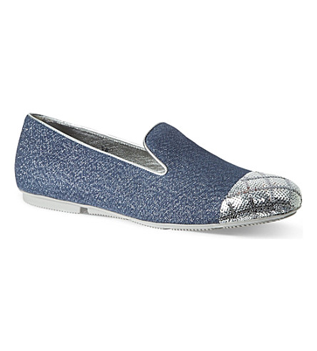 HOGAN Sequin toe slippers (Teal