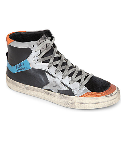 GOLDEN GOOSE 2.12 leather high tops (Blk/other