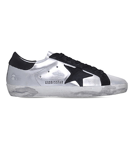 GOLDEN GOOSE Superstar leather trainers (Silver