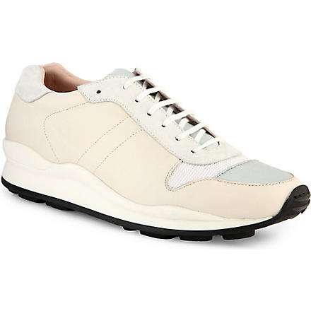 OPENING CEREMONY Classic leather-trimmed trainers (Blk/white