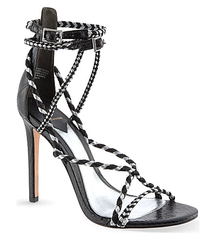 B BY BRIAN ATWOOD Linares snake heeled sandals (Blk/other