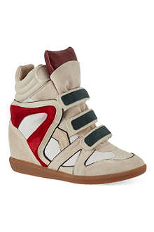 ISABEL MARANT Wila suede hi-top wedged sneakers