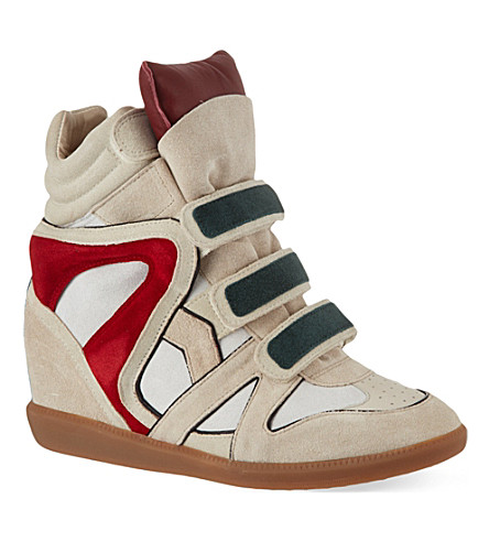 ISABEL MARANT Wila suede hi-top wedged sneakers (Red/other