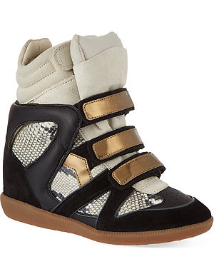 ISABEL MARANT Bonny suede and leather wedge trainers