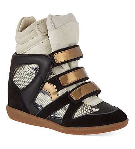 ISABEL MARANT Bonny suede and leather wedge trainers (Blk/beige