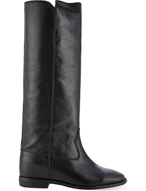 ISABEL MARANT Chess knee-high concealed wedge leather boots