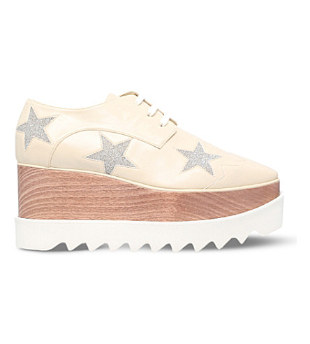 STELLA MCCARTNEY Elyse faux-leather flatform Derby shoes (Winter+wht