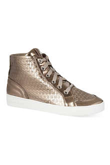 MICHAEL MICHAEL KORS Patterned metallic hi-top trainers