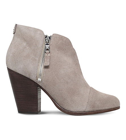 RAG AND BONE Margot suede heeled ankle boots (Grey