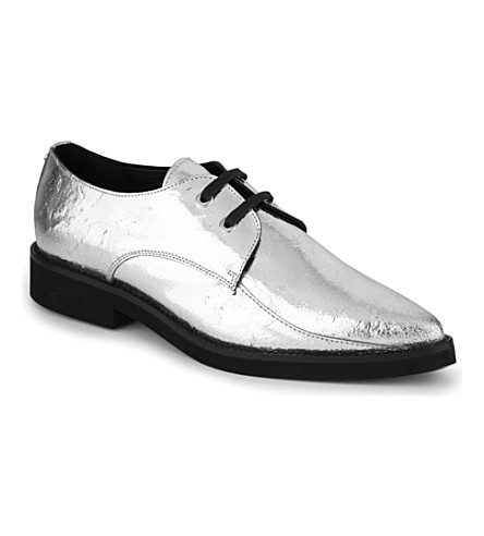 MCQ ALEXANDER MCQUEEN Kim metallic derby shoes (Silver