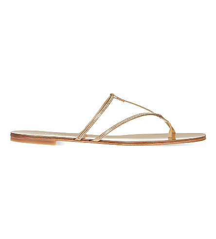 PEDRO GARCIA Estee embellished satin and leather flat sandals (Gold