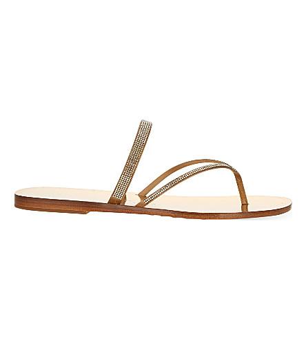 PEDRO GARCIA Ilsa embellished satin and leather flat sandals (Gold