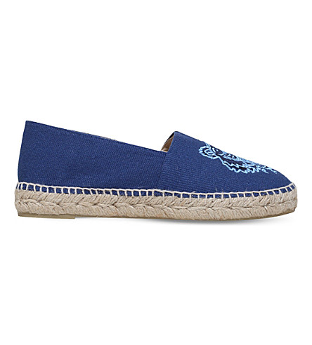 KENZO Tiger-embroidered canvas espadrilles (Navy