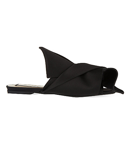 NO 21 Bow satin slippers (Black
