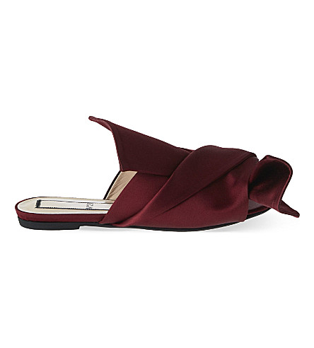 NO 21 Bow satin slippers (Wine